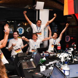 Gallery Thumbnail-5 Copyright 2018 Mike Sewell (tel: 07966 417114) Photograph by Mikey Sewell.Cyber Security Challenge UK - Cyber Re:coded - Day Two.Team Germany celebrate winning the two day challenge.