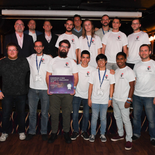 Gallery Thumbnail-2 Copyright 2018 Mike Sewell (tel: 07966 417114) Photograph by Mikey Sewell.Cyber Security Challenge UK - Cyber Re:coded - River Thames cruise and awards evening.Pictured are Team France who came second.