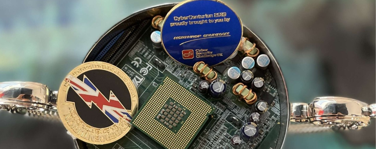 Close up of CyberCenturion trophy and medals
